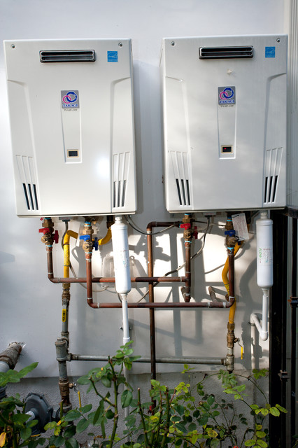 Tankless Electric Water Heaters Spaces Modern with Architectural Design and Construction