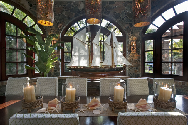 Taper Candle Holders Dining Room Tropical with Arched Window Beach House
