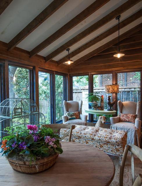 Temo Sunrooms Sunroom Shabby Chic with Birdcage Enclosed Porch Farmhouse