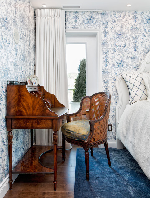 theodore alexander furniture bedroom traditional with blue and white wallpaper