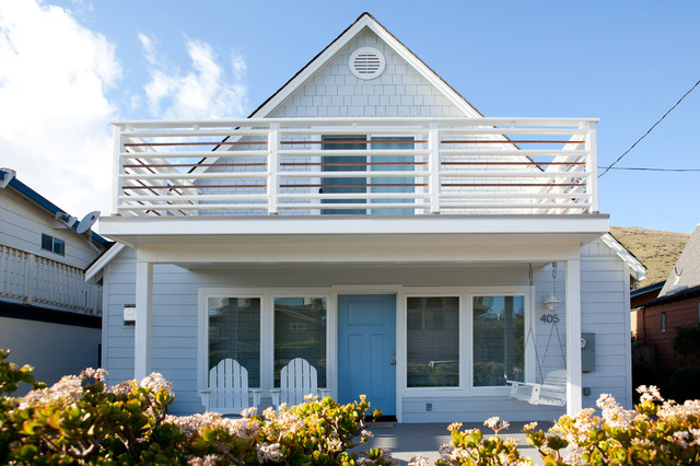 Timbertech Railing Exterior Beach with Adirondack Chairs Blue Front