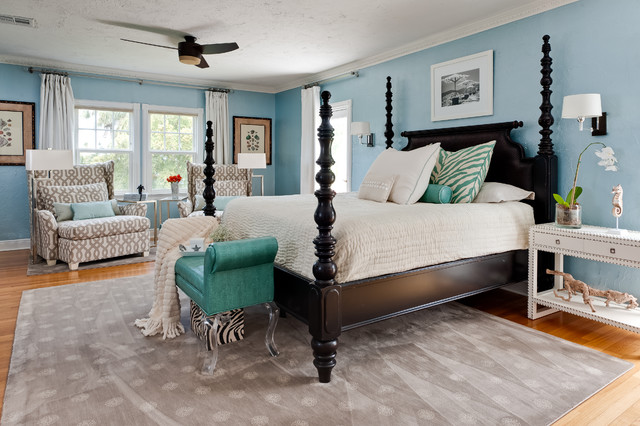Tommy Bahama Fabric Bedroom Contemporary with Area Rug Bedside Table