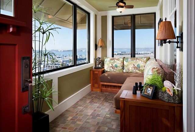 tommy bahama fabric Sunroom Tropical with built in seating ceiling