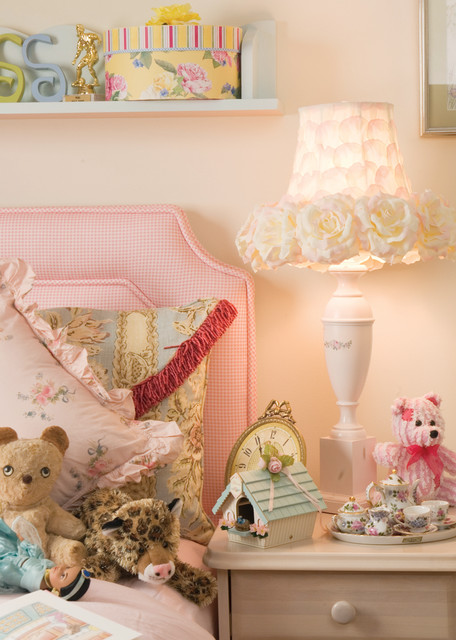 Torchiere Lamp Shade Kids Shabby Chic with Bed Pillows Bedroom Bedside