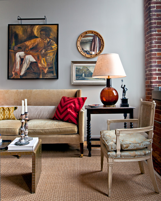 Torchiere Lamp Shade Living Room Eclectic with Area Rug Artwork Brick