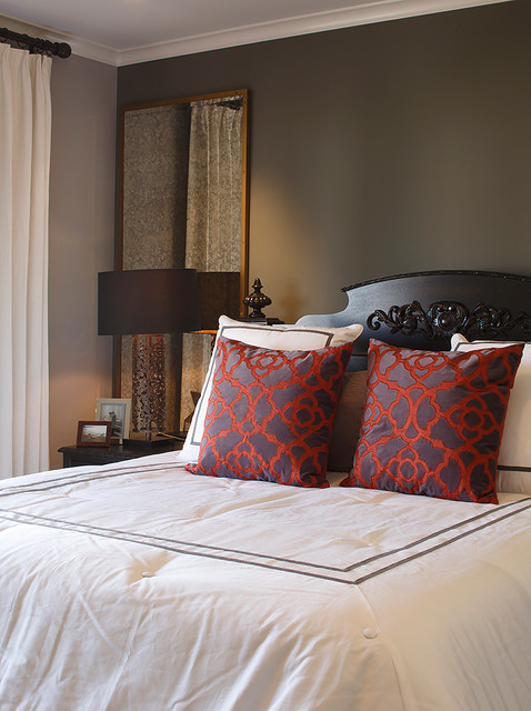 Toss Pillows Bedroom Traditional with Bedroom Bedside Table Black