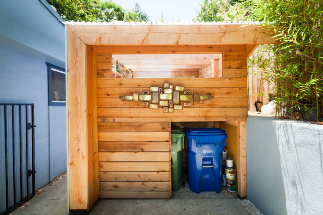 Touchless Trash Can Garage and Shed Contemporary with Custom Art Modern Garage