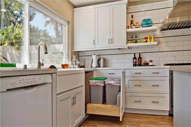 Touchless Trash Can Kitchen Contemporary with Corner Cabinet Pull Out Trash