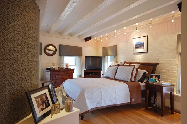 Track Lighting Lowes Bedroom Contemporary with Beamed Ceiling Bedside Table