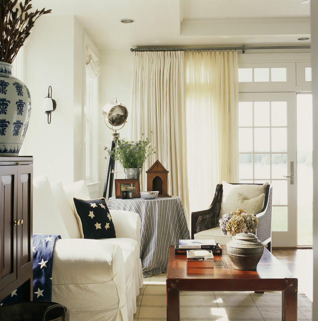 Traverse Rods Living Room Rustic with Americana Cane Chair Curtains