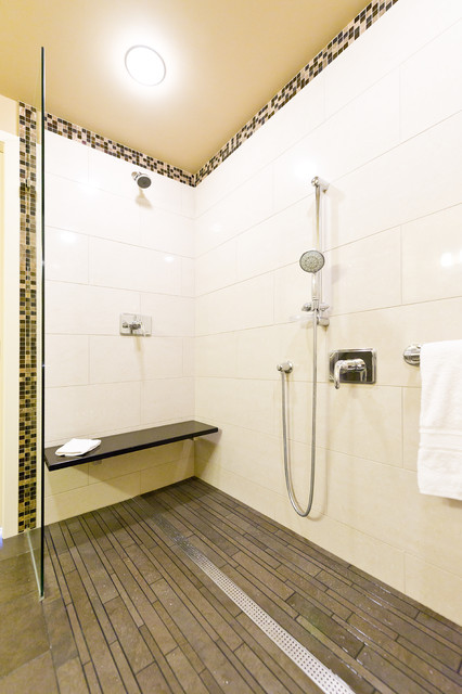 trench drain Bathroom Contemporary with accessible beige black chrome