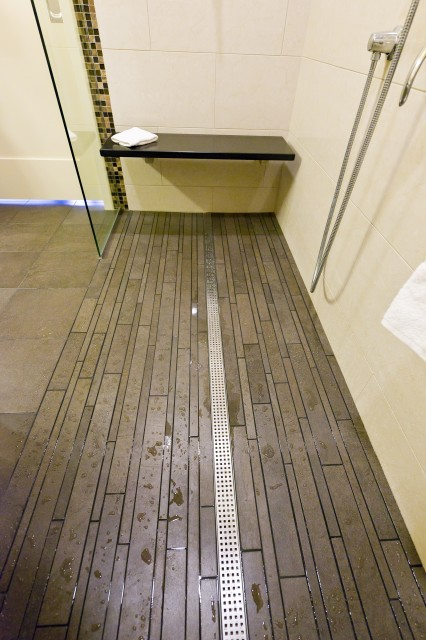 Trench Drain Bathroom Contemporary with Floating Bench Glass Panel