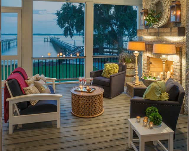 Trex Outdoor Furniture Porch Transitional with Backyard Blue Armchairs Composite