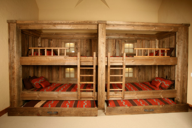 Trundle Mattress Bedroom Rustic with Cabin Bunk Beds Cabin