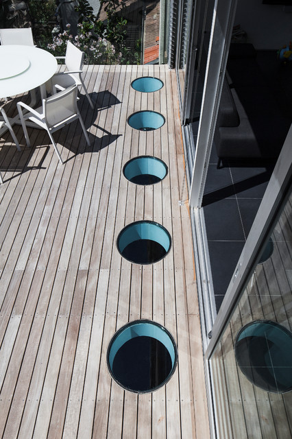 Tube Skylight Deck Modern with Outdoor Dining Outdoor Entertaining