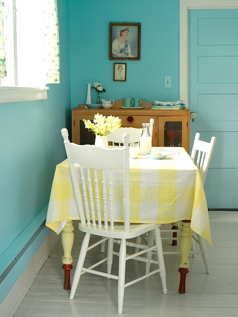 turquoise tablecloth Kitchen Shabby-chic with CategoryKitchenStyleShabby-chic StyleLocationCanada