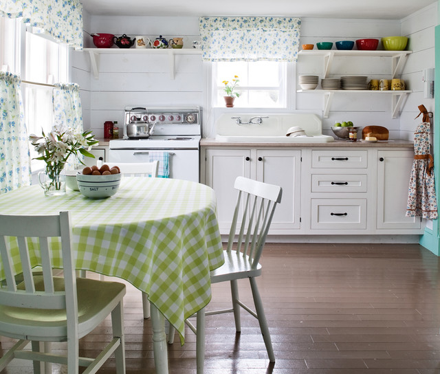 Turquoise Tablecloth Kitchen Shabby Chic with Cafe Curtains Checker Print
