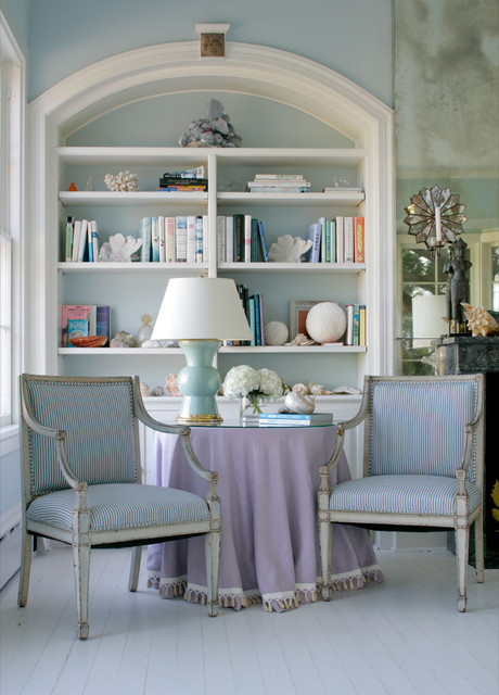 Turquoise Tablecloth Living Room Beach with Archway Blue Walls Bookcase