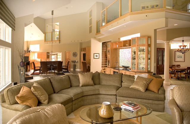 Unico System Family Room Contemporary with Arched Entry Balcony Chandelier