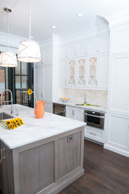 Unico System Spaces Contemporary with Black Trim Brownstone Kitchen