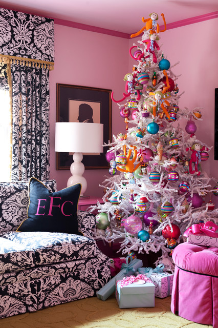 Unlit Christmas Trees Living Room Eclectic with Beige Rug Bright Colors