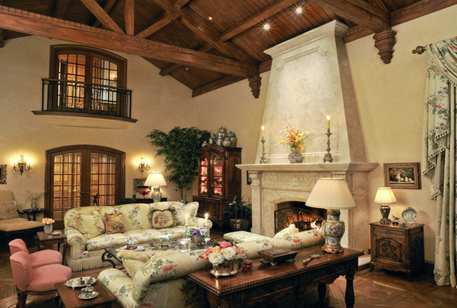 Unlit Christmas Trees Living Room Traditional with 2 Story Wood Vaulted Ceiling