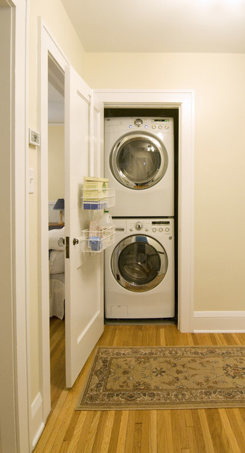 used stackable washer dryer Laundry Room Contemporary with baseboards closet laundry room