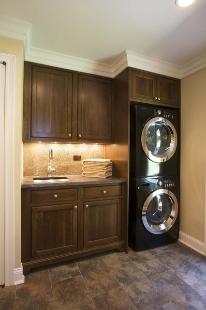 Used Stackable Washer Dryer Laundry Room Traditional with Baseboards Built in Cabinets