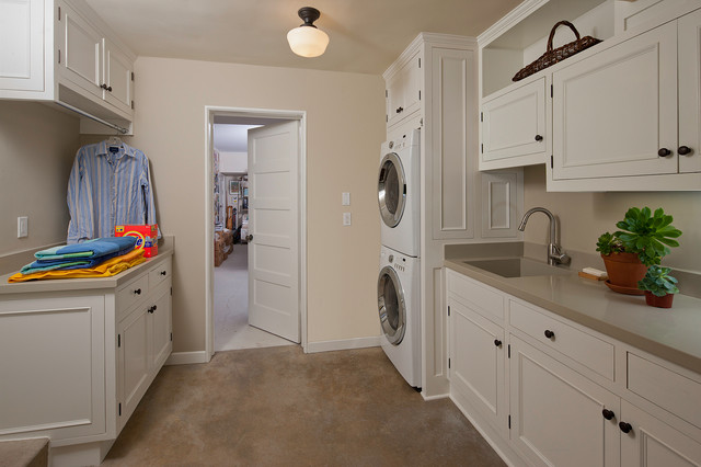 Used Stackable Washer Dryer Laundry Room Traditional with Built in Storage Drying