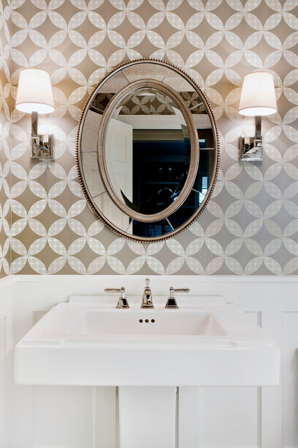 Uttermost.com Powder Room Traditional with Beveled Mirror Pedestal Sink