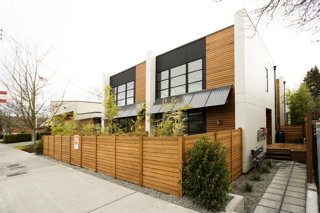 Vinyl Fencing Panels Exterior Contemporary with Flat Roof Geometric Geometry