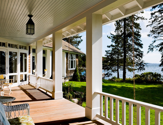 Vinyl Porch Railing Porch Beach with Cabin Coastal Cottage Covered
