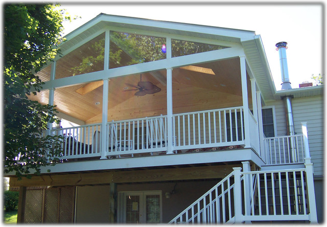 Vinyl Porch Railing Porch Traditional with Contractor Porch Remodeling Sun Room