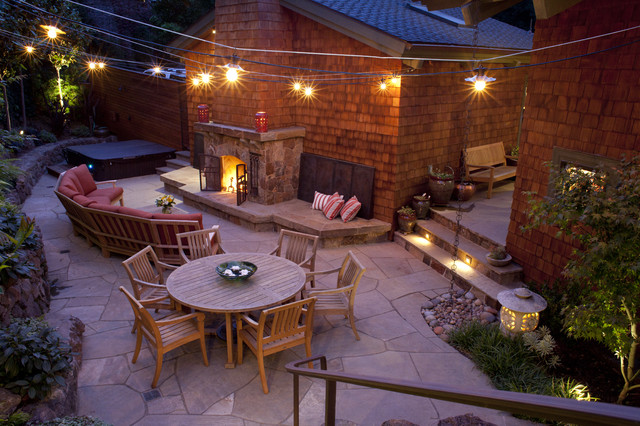 Vista Landscape Lighting Patio Traditional with Curved Seating Fireplace Flagstone