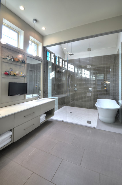 Walk in Tubs and Showers Bathroom Contemporary with Bathroom Tv Brown Tile