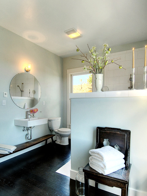 Wall Mount Hair Dryer Bathroom Contemporary with Antiques Asian Bench Blue