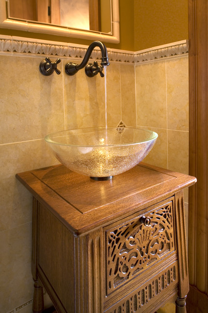 Wall Mounted Air Conditioner Bathroom Traditional with Accent Tiles Antique Washbasin