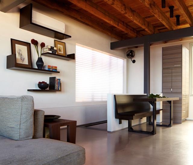 wall mounted air conditioner Living Room Modern with banquette bench seat concrete