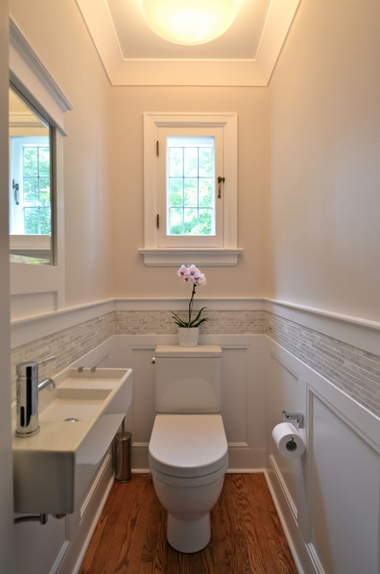 Wall Mounted Air Conditioner Powder Room Traditional with Bathroom Beige Walls Casement