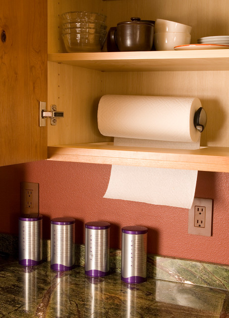 wall mounted paper towel holder Spaces Eclectic with paper towel storage