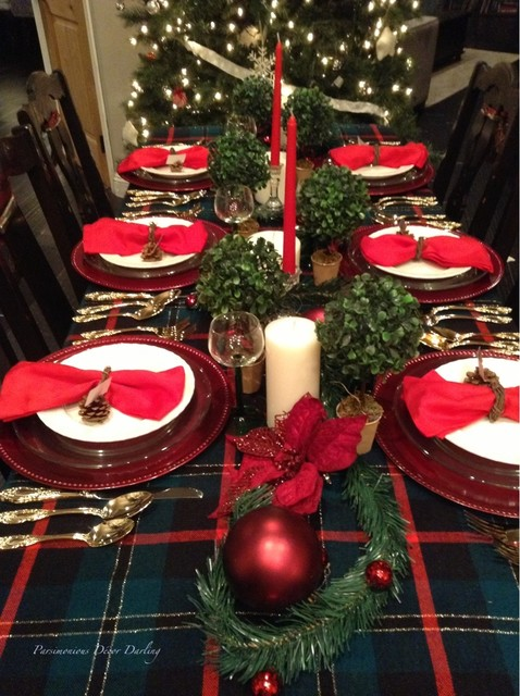 wallace flatware Spaces Traditional with candles Christmas tablescape gold