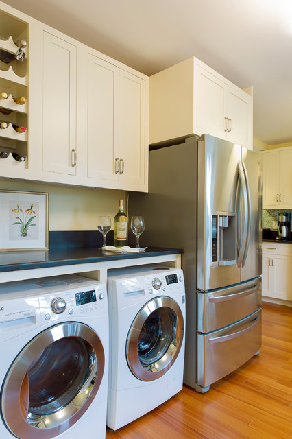 Washer Dryer Combo Ventless Kitchen Beach with Black Counter Botanical Print