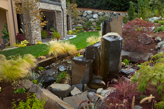Water Bubbler Landscape Contemporary with Boulder Landscape Decorative Grass