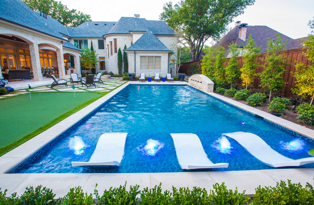 Water Bubbler Pool Mediterranean with Artificial Turf Glass Tile