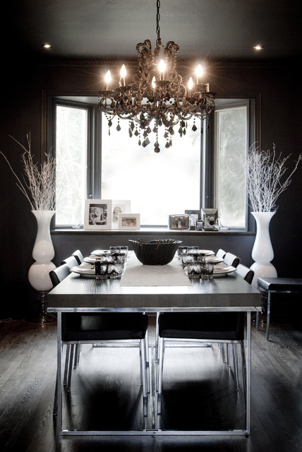 waterford crystal vase Dining Room Eclectic with bay window black wall