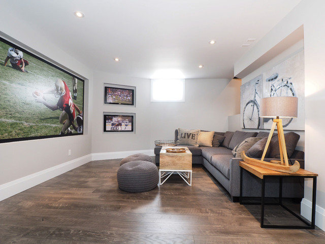 Waterproof Laminate Flooring Basement Transitional with Bicycle Art Gray Poufs