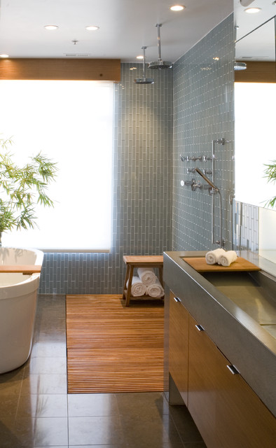 Weather Guard Mats Bathroom Contemporary with 6x1 Tile Bamboo Block