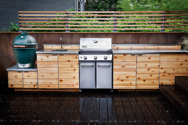 Weber Go Anywhere Gas Grill Deck Contemporary with Big Green Egg Brooklyn