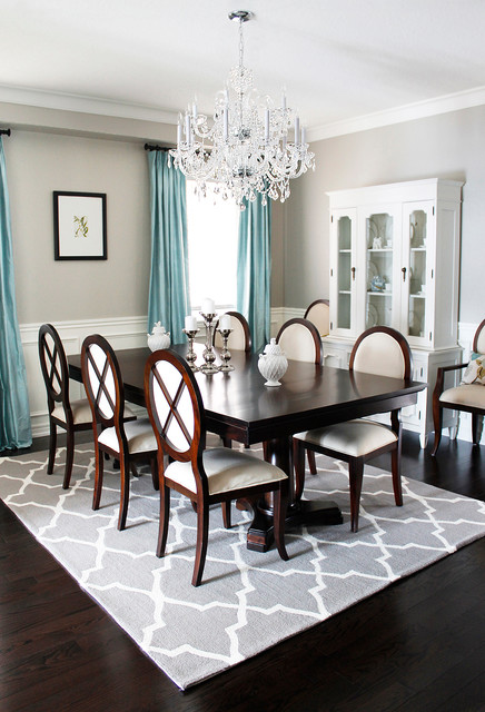 White Fluffy Rug Dining Room Traditional with Beige Dining Chair Blue