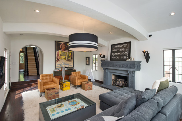 White Fluffy Rug Living Room Contemporary with Andy Berman Arched Ceiling